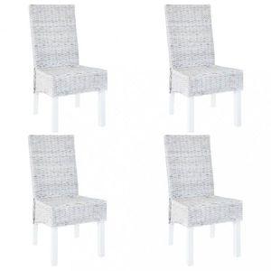 Jedálenská stolička 4 ks ratan / mangovník Dekorhome Sivá vyobraziť