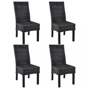 Jedálenská stolička 4 ks ratan / mangovník Dekorhome Čierna vyobraziť