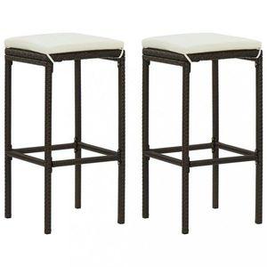 Záhradné barové stoličky 2 ks polyratan / látka Dekorhome Hnedá vyobraziť