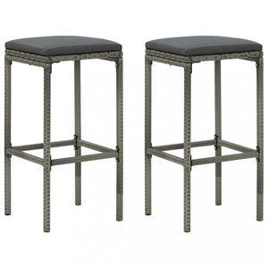 Záhradné barové stoličky 2 ks polyratan / látka Dekorhome Sivá vyobraziť