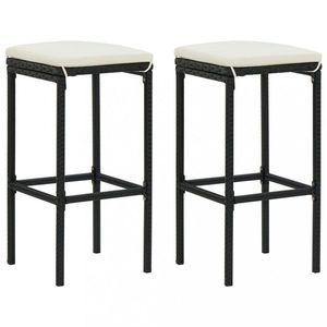 Záhradné barové stoličky 2 ks polyratan / látka Dekorhome Čierna vyobraziť