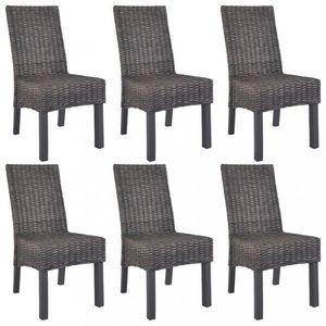 Jedálenská stolička 6 ks ratan / mangovník Dekorhome Hnedá vyobraziť