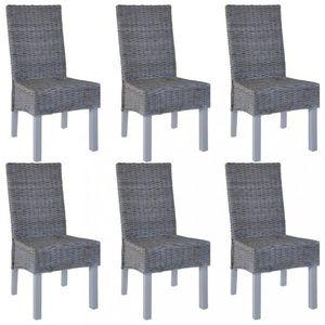 Jedálenská stolička 6 ks ratan / mangovník Dekorhome Sivá vyobraziť