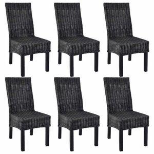 Jedálenská stolička 6 ks ratan / mangovník Dekorhome Čierna vyobraziť