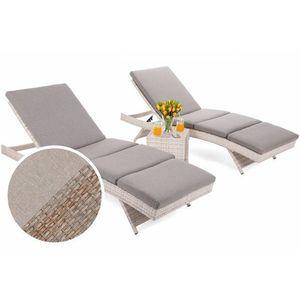 Záhradné lehátko 2 ks so stolíkom umelý ratan / látka Prírodná vyobraziť