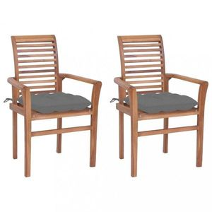 Záhradná jedálenská stolička s poduškou 2 ks teak Dekorhome Sivá vyobraziť