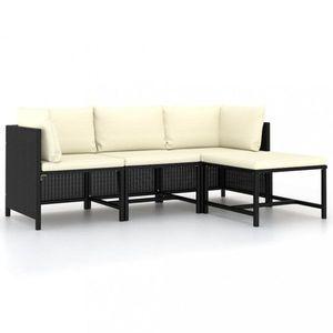 Záhradná sedacia súprava 4 ks čierna / krémová Dekorhome vyobraziť