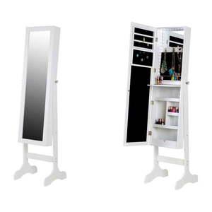 Biela stojacia šperkovnica so zrkadlom a LED podsvietením Chez Ro Bien vyobraziť