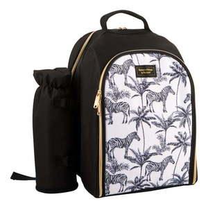 Čierno-biely chladiaci batoh s piknikovým vybavením pre 2 osoby Navigate Madagaskar, 15 l vyobraziť