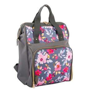 Sivý kvetovaný chladiaci batoh s piknikovým vybavením pre 2 osoby Navigate Grey Floral, 15 l vyobraziť