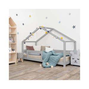 Sivá detská posteľ domček s bočnicou Benlemi Lucky, 90 x 200 cm vyobraziť