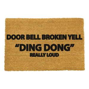 Rohožka z prírodného kokosového vlákna Artsy Doormats Yell Ding Dong, 40 x 60 cm vyobraziť
