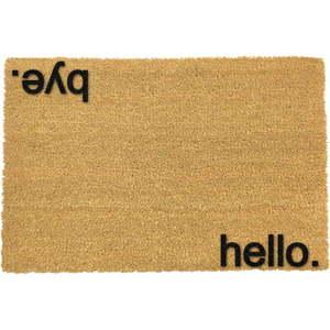 Čierna rohožka z prírodného kokosového vlákna Artsy Doormats Hello, Bye, 40 x 60 cm vyobraziť