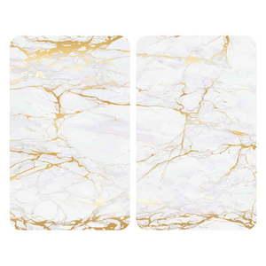 Sada 2 sklenených krytov na sporák v bielo-zlatej farbe Wenko Marble, 52 x 30 cm vyobraziť