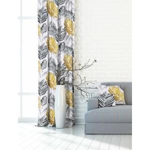 Dekoratívna alebo textilná záclona, OXY Listy Dorea, sivo-žltá, 150 cm vyobraziť