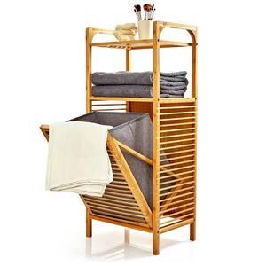 Blumfeldt 2 v 1 regál, 2 odkladacie plochy, odnímateľný kôš, bambus, bavlna vyobraziť