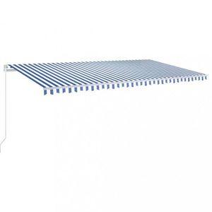 Ručne zaťahovacia markíza s LED svetlom 600x350 cm Dekorhome Biela / modrá vyobraziť