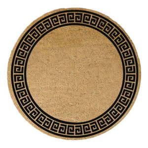 Čierna okrúhla rohožka z prírodného kokosového vlákna Artsy Doormats Greek Border, ⌀ 70 cm vyobraziť