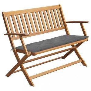 Záhradná lavica s poduškou 120 cm Dekorhome Sivá vyobraziť
