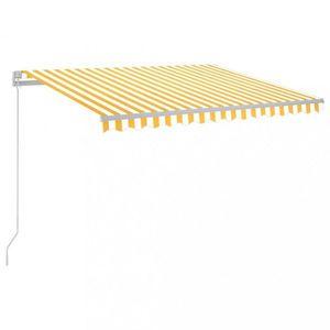 Ručne zaťahovacia markíza s LED svetlom 300x250 cm Dekorhome Biela / žltá vyobraziť