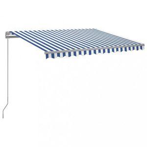 Ručne zaťahovacia markíza s LED svetlom 300x250 cm Dekorhome Biela / modrá vyobraziť