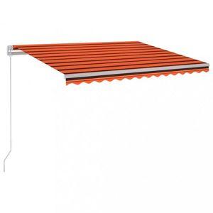Ručne zaťahovacia markíza s LED svetlom 300x250 cm Dekorhome Hnedá / oranžová vyobraziť