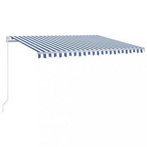 Ručne zaťahovacia markíza s LED svetlom 400x300 cm Dekorhome Biela / modrá vyobraziť