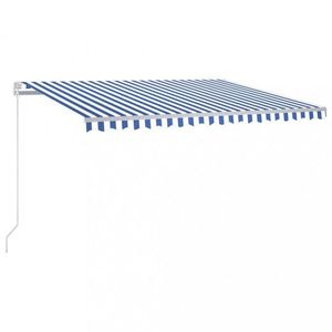 Ručne zaťahovacia markíza s LED svetlom 450x350 cm Dekorhome Biela / modrá vyobraziť