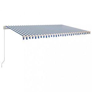 Ručne zaťahovacia markíza s LED svetlom 500x350 cm Dekorhome Biela / modrá vyobraziť