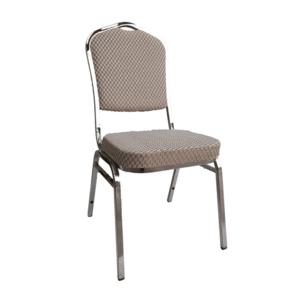 Stohovateľná stolička, béžová/vzor/chróm, ZINA 3 NEW vyobraziť