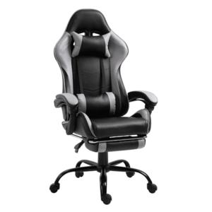 Kancelárske/herné kreslo s podnožou, čierna/sivá, TARUN vyobraziť