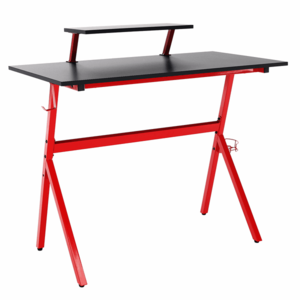 PC stôl/herný stôl, červená/čierna, LATIF vyobraziť