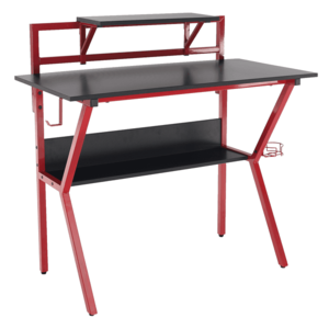 PC stôl/herný stôl, červená/čierna, TABER vyobraziť