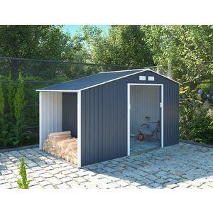 Záhradný domček s prístreškom L sivá Dekorhome vyobraziť