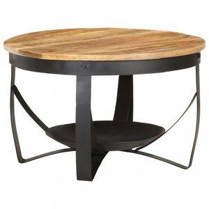 Konferenčný stolík masívne drevo / kov Dekorhome Čierna vyobraziť