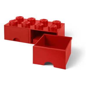 Červený úložný box s dvoma zásuvkami LEGO® vyobraziť