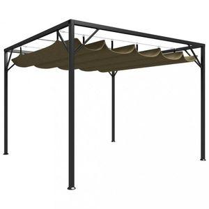 Záhradný altánok so zaťahovacou strechou Dekorhome Sivohnedá taupe vyobraziť