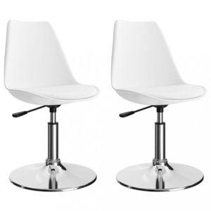 Otočná jedálenská stolička 2 ks umelá koža / kov Dekorhome Biela vyobraziť