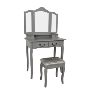 Toaletný stolík s taburetom, sivá/strieborná, REGINA NEW vyobraziť