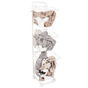 Viacúčelový regál s košíkmi, biely kov, ARODO vyobraziť