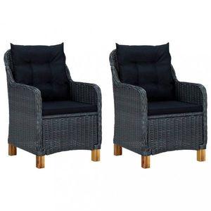 Záhradné stoličky 2 ks umelý ratan Dekorhome Čierna vyobraziť