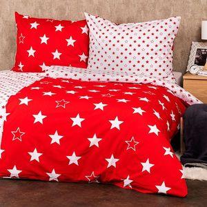 4Home Bavlnené obliečky Stars red, 140 x 200 cm, 70 x 90 cm vyobraziť