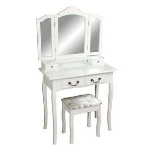 Toaletní stolek s taburetem REGINA NEW Tempo Kondela Biela vyobraziť