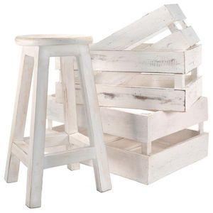 DIVERO sada vintage- stolička a 3 ks prepraviek, biele drevo vyobraziť